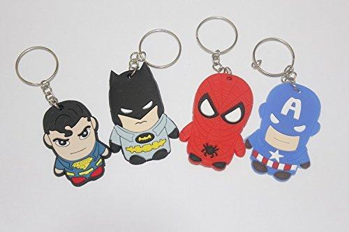 fungshop Marvel Batman Spiderman Superman Kapitän Kapitän Amerika Schlüsselbund Figuren Spielzeug 4pic ...