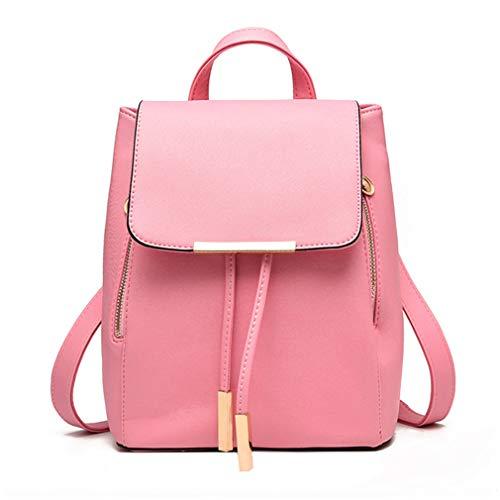 Pahajim Women Backpack Leather Shoulder Bag Girls Student School Bag Travel Backpack Bag Rucksack Satchel (Pink)