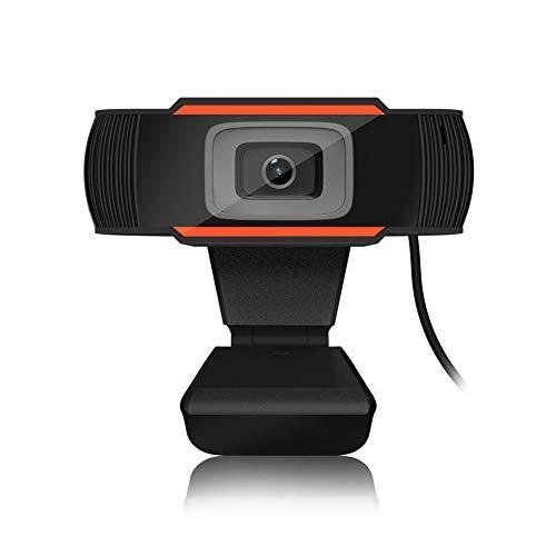 Cámara Web HD con Micrófono, 720P Mini Webcam USB Autofocus para PC,Laptop,Ordenador Versátil con Jack Audio 3.5 para Altavoz a Teletrabajar, Vídeollamadas, Conferencia Clip Giratorio Cable Larga