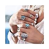 IYOU Juego de anillos de nudillos y nudillos plateados con piedras preciosas turquesas vintage para mujeres y niñas (paquete de 8)