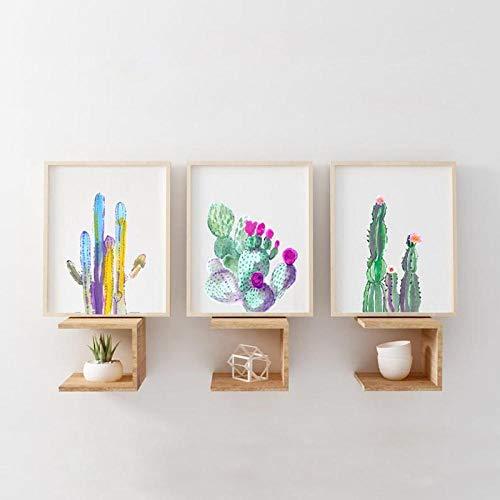 AdoDecor Acuarela impresión de Cactus Plantas suculentas Carteles Colorido Cactus Arte Lienzo Pintura botánica Cuadro de Pared hogar Pared Arte decoración 50x72cmx3 sin Marco