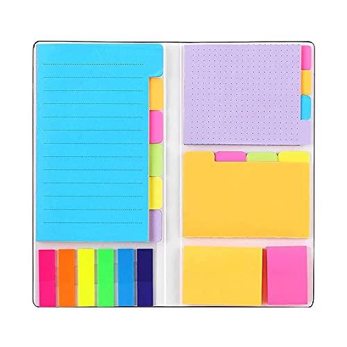 Klebezettel Haftnotizen Set, Notizzettel in 6 Formaten, Bunte Mini Sticky Notes, Selbstklebende Notizzettel für Büro und Studenten