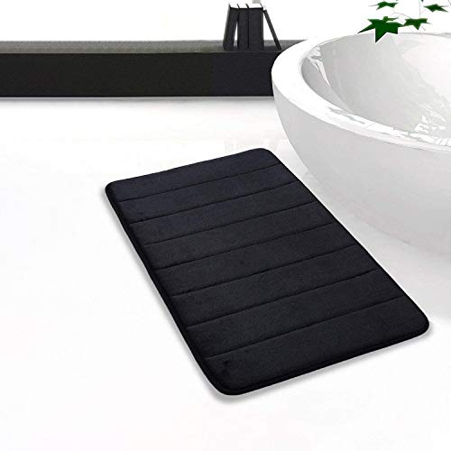 Homaxy Memory Foam Badezimmer Badteppich Saugfähige Rutschfester Badvorleger Waschbar Badematte - 50 x 80 cm, Schwarz