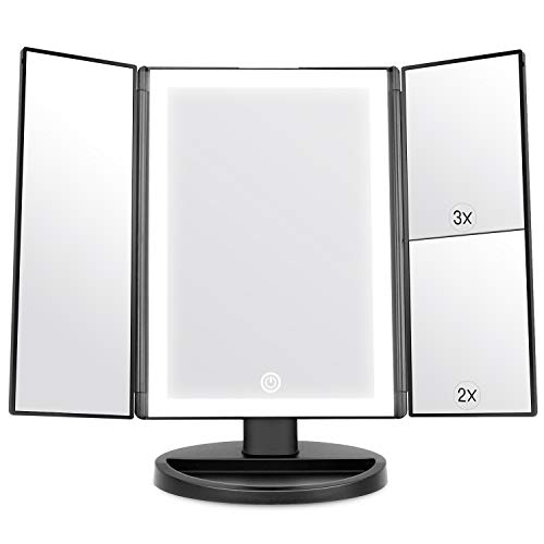 WEILY Specchio per Il Trucco con Luce, Specchio Cosmetico Triplo con Ingrandimento 2X/3X, 36 Luci a LED e Due modalità di Alimentazione Specchio Cosmetico da Tavolo