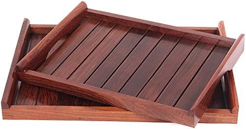 Sheesham - Juego de bandejas de madera para servir (2 unidades), color marrón