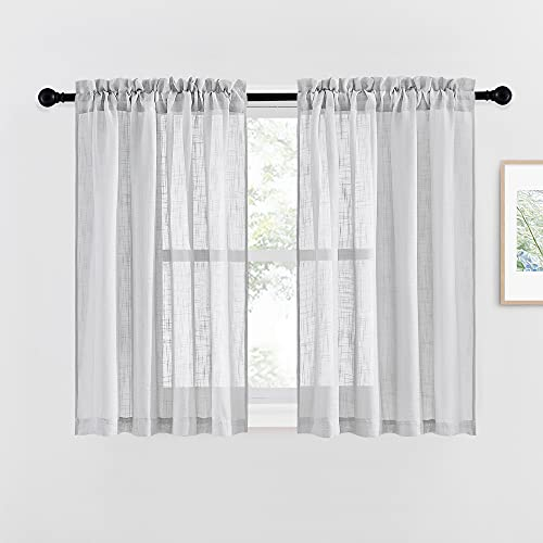 NICETOWN Linen Like Sheer Curtains for Bedroom, Country Style Semi Sheer Window Drapes Privacy with Amount of Light for Basement/Farmhouse, Silver Grey, W52 x L45, 1 Pair