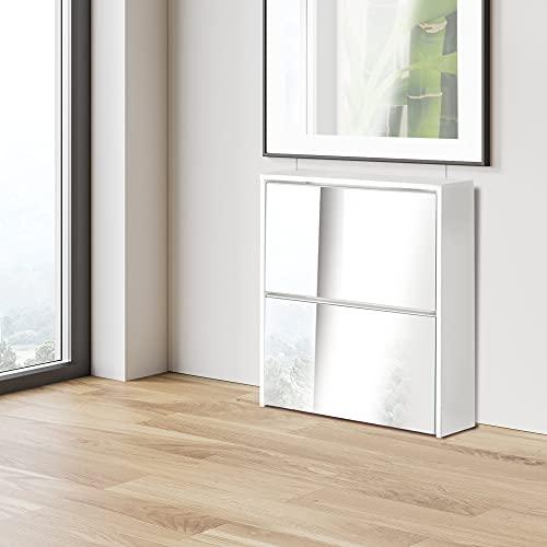 ML-Design Zapatero Moderno con 2 Compartimentos para 6 Pares de Zapatos Mueble Blanco 63 x 17 x 67 cm con Espejo Armario Basculante de Madera Estantería de Pasillo Organizadora de Calzado