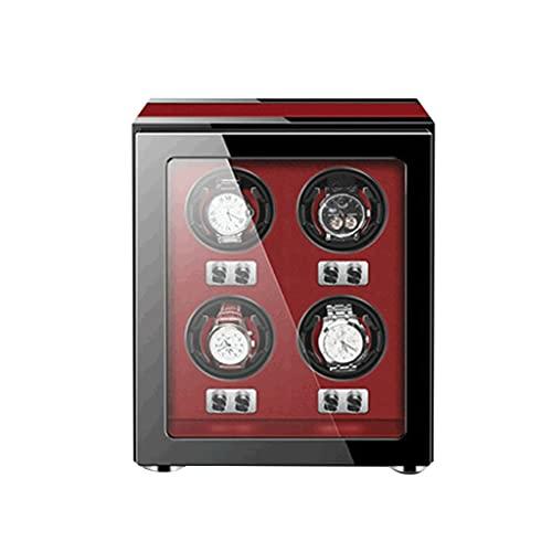 Cajas Giratorias para Relojes Caja Almacenamiento Lujo De Madera 4 Modos Configuración Y Motor Súper Silencioso Cerradura LED Incorporada (Madera) Fácil Acceso