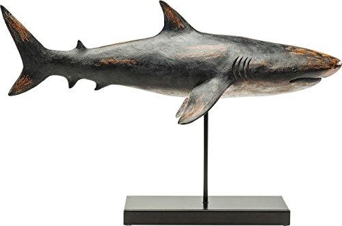 Kare Dekofigur Shark Base, 30380, große, Moderne Tier-Dekoration, Hai aus Polyresin, Schwarz-grau, (H/B/T) 38,5 x 59 x 24 cm
