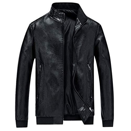 Chaqueta de Cuero de imitación para Hombre Motocicleta Invierno cálido Muscle Fit Vintage Racer Chaquetas Abrigos Prendas de Abrigo Marrón Negro Café BuyO