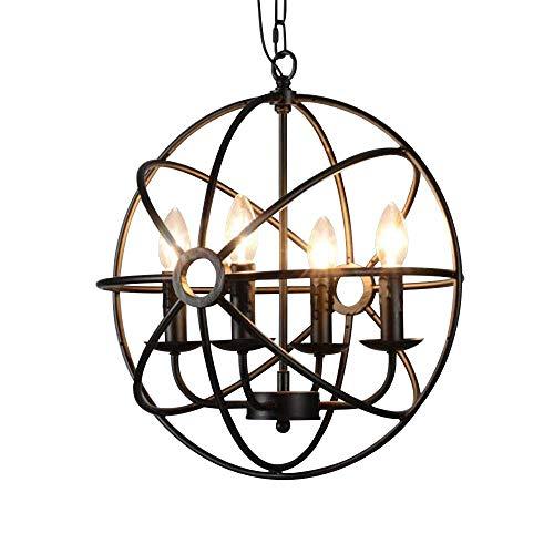 Relaxbx Industriële Vintage Globe Smeedijzeren Hanger Kroonluchter Verlichting Antieke Rustieke Verlichting Hanglamp Bevestiging met 5 Lichten