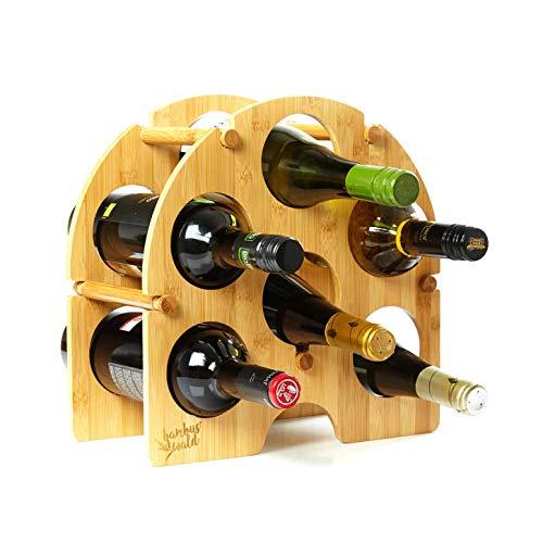 bambuswald© rundes Weinregal für 6 Flaschen aus 100{2d5cf3beeca6004cb2b4083d017a2d37d9ad6f7089fbda69add96c79639a269b} nachhaltigem Bambus | Etagen Flaschenregal Weinschrank Weinhalter Weinablage