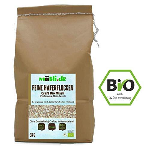 müsli.de BIO Feine Haferflocken 1x3kg, für eine vegane Ernährung geeignet. Knackiger Geschmack dank Vollkornflocken. Starte klassisch in den Tag!