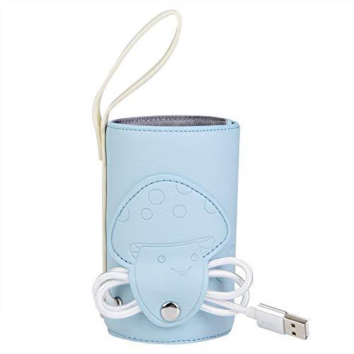 Zuigfleswarmer, Flessenwarmer, USB-oplader Draagbare zuigflesverwarmer voor baby's, Reismok Melkverwarmer Voeding Zuigfles Geïsoleerde opbergtas Thermostaatzak voor pasgeboren voer(blauw)