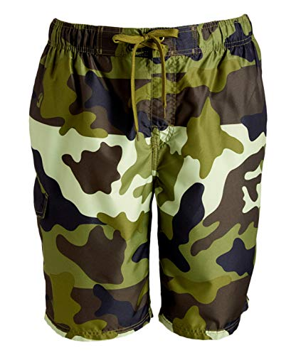 Kanu Surf Men's Miles Swim Trunks (Regular & Extended Sizes), Surf Camo Army, Large