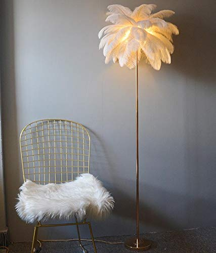 Lámpara de polo alto elegante Sofá lámpara vertical niña decoración lámpara dormitorio europeo diseño HMKJ (Color : White)