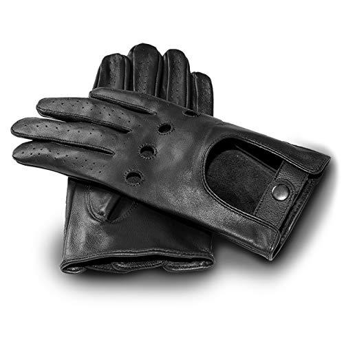 JAMES HAWK Lederhandschuhe für Herren - Autofahrer Handschuhe mit Touchscreen-Funktion - klassische und elegante Autohandschuhe für Männer - Schwarz, M