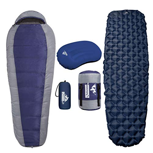 Outdoorsman Lab Mummy Sleeping Bag, Sleeping Pad & Pillow Bundle for Adults & Kids - Compact,...