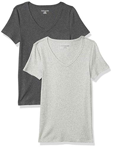 Amazon Essentials Women's 2-Pack Slim-Fit Short-Sleeve V-Neck T-Shirt, Charcoal Heather/Light Grey Heather, Small