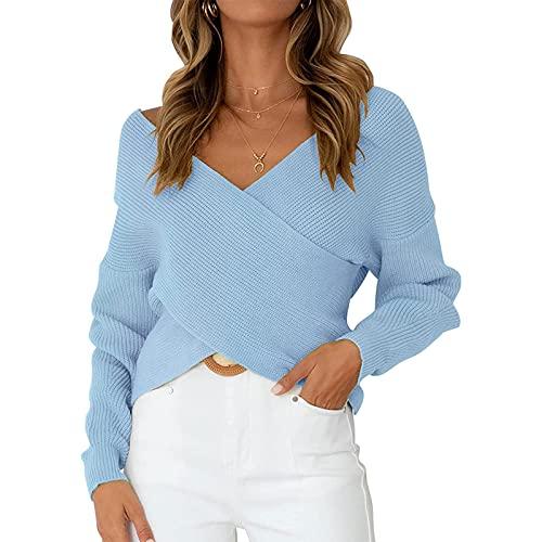 Kaenwang Suéter de punto suelto de cuello en V profundo para mujer, manga larga casual Slim Color sólido Pullover Crop Tops, azul, M