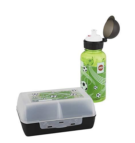 Emsa 518140 Kinder Set Trinkflasche + Brotdose, Motiv: Fußball, BPA frei, Material: Trinkflasche aus Tritan, bruchfest und unbedenklich, Brotdose aus Kunststoff, 18,2 x 18,3 x 7,5 cm (LxBxH)