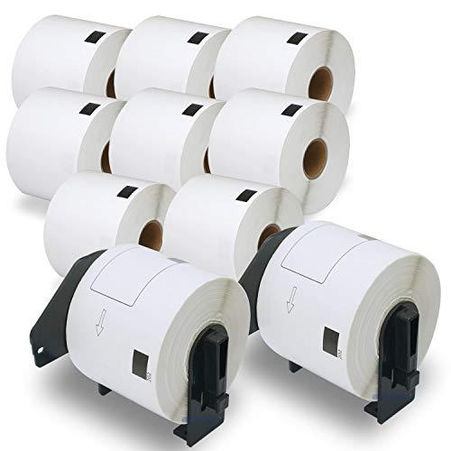 BETCKEY Kompatible Versand Etiketten Label, Ersatz für Brother DK-11202, 62mm x 100mm, Verwendung mit Brother QL-Etikettendruckern [10 Rollen/3000 Etiketten+2 Halter]