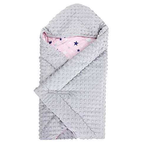 TupTam Baby Winter Einschlagdecke für Babyschale Wattiert, Farbe: Sterne Hellgrau Weiß/Rosa, Größe: ca. 75 x 75 cm