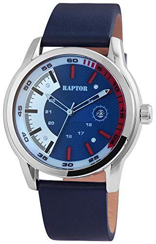 Raptor Herren-Uhr Echt Leder Armband Datum Leuchtzeiger Analog Quarz RA20286 (dunkelblau)