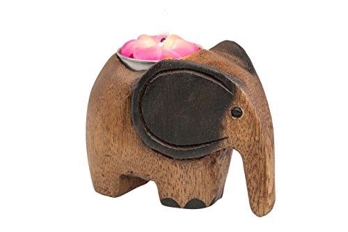 Handelsturm Kerzenhalter Elefant Kerzenständer handgeschnitzt aus Holz