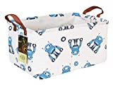 HUNRUNG Rectangle Storage Basket Cute Canvas Organizer Bin for Pet/Children Toys, Books, Clothes Perfect for Rooms/Playroom/Shelves (Rec-Blue Robot)