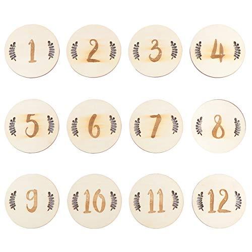 Tomaibaby Tarjetas de Hitos Mensuales 12 Piezas, 10X10x0.3 Cm Números Redondos Regalo de Ducha Tarjeta de Madera para El Nacimiento del Bebé Tarjeta de Registro Mes Set Discos - Números de Hojas