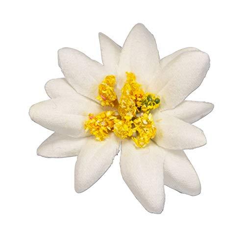 Alpenflüstern Pin Edelweiss-Stoffblüte Creme-weiß API117