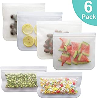 Reusable Sandwich Bags,Hamkaw 6Pack PEVA Reusable Food Storage Bags with Airtight Leakproof Zip BPA Free Clear Lunch Ziplock Bag for Kids Freezer Snack Fresh Vegetable Fruits Home Organisation