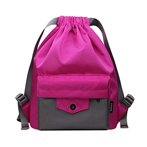 Gym Drawstring Backpack String Bag Men Women Workout Dance Sack Pack Sackpack (Kids Rose)