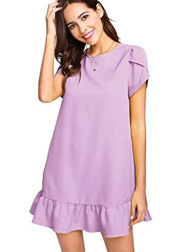 Verdusa Women's Round Neck Petal Short Sleeve Ruffle Hem Tunic Dress Purple XS
