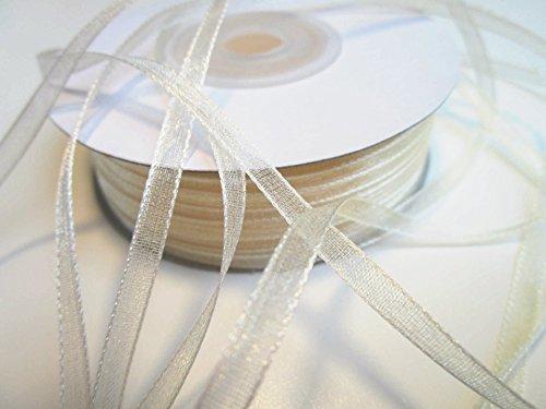 CaPiSo® 100 m Organza Chiffon 3 mm breit mit Webkante (Champagner-Creme)