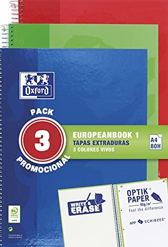 Oxford, Cuadernos A4, Pack de 3 Libretas A4 Microperforadas Europeanbook 1, Tapa Extradura, Espiral, A4+, Cuadrícula 5x5, Colores Vivos