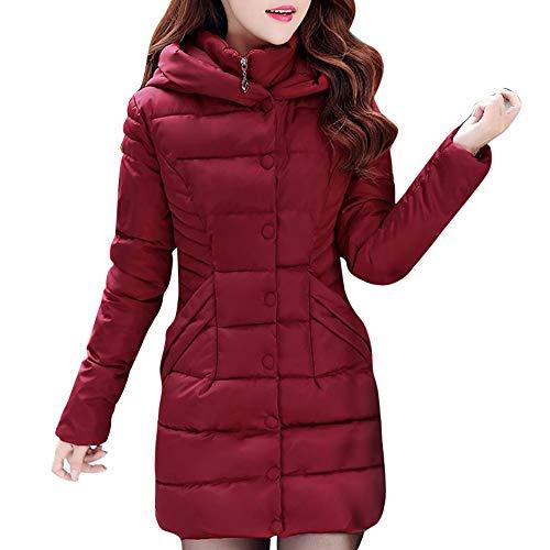 Xmiral Moda Mujeres de Invierno Plumifero Chaqueta Larga Abrigo de algodón Caliente Slim Trench Parka Bolsillos(Burdeos,M/ES38-40)