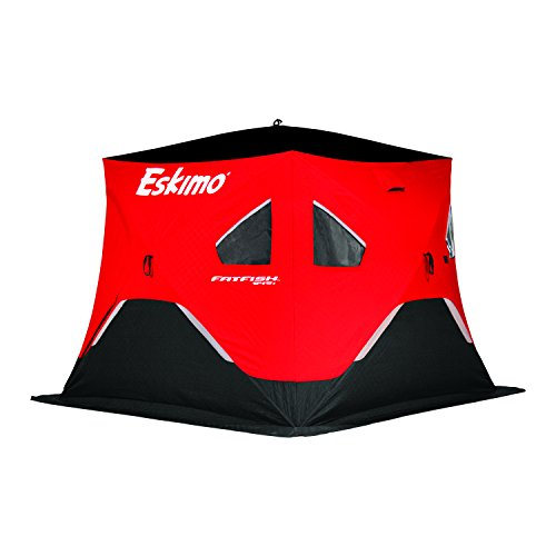 Eskimo FF949i FatFish Pop-up Portable Hub-Style Ice Shelter, Wide Bottom Design 61 sq ft. Fishable Area, 3-4 Person Insulated