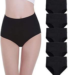 FALARY Bragas Mujer Cintura Alta Algodón 5 Piezas Negro L