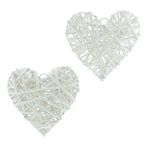 hanging decorations 2 White Hearts Rattan