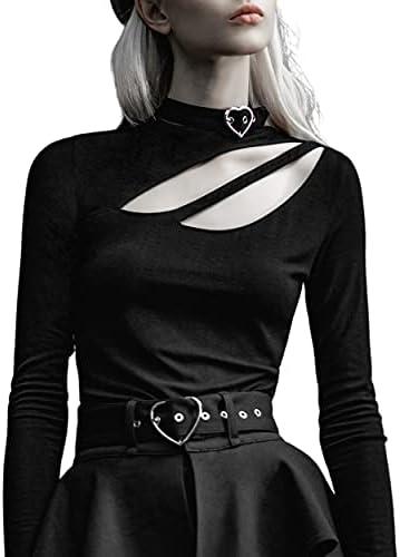 PUNKRAVE Women's Long Sleeve One Shoulder...