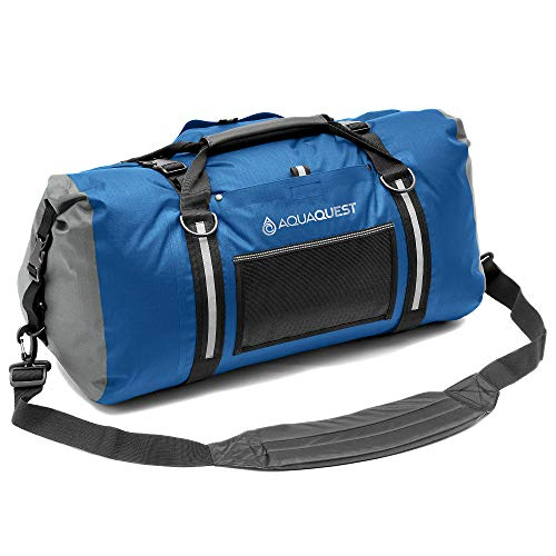 AquaQuest White Water Duffel - 100% Waterproof, Heavy Duty, Versatile, Comfortable - Durable Protective Dry Bag for Travel, Sport, Motorcycle, Boat, Fishing - 100 L, Blue