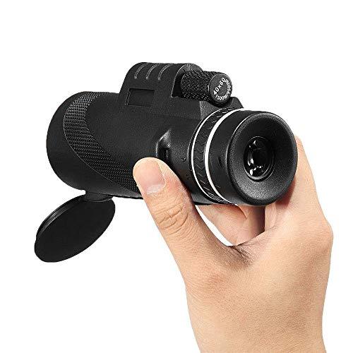 FHISD Telescopio HD, Monocular portátil 40X60 BAK4 Lente óptica Monocular Bajo Nivel de luz Visión Nocturna Teléfono Impermeable (Color: Negro, Tamaño: 140 mm)