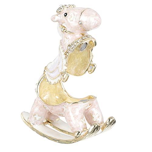 Cabilock Minihouse Pferd Schmuckstück Box Klapp Hand- Gemalt Funkelnden Pferd Figuren Tier Schmuck Boxen Ring Halter Statue für Geburtstag Party Decor Liefert Geschenke Rosa