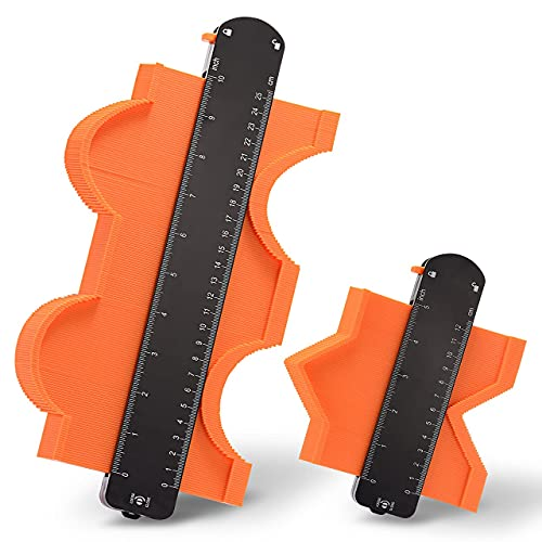 Jauge de Contour, Lot de 2 Copieur de Contour Verrouillable réglable pour copier avec précision les formes irrégulières pour une mesure professionnelle du bois et des carreaux (25,4 cm x 12,7 cm)
