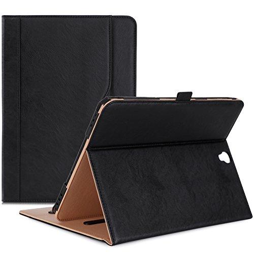 ProHülle Klappen Schutzhülle für Galaxy Tab S3 Tablet, Stand Folio Hülle Cover für Galaxy Tab S3 Tablet (9,7 Zoll, SM-T820 T825 T827), mit Mehreren Betrachtungswinkeln, Dokumentenkarte Tasche -Schwarz