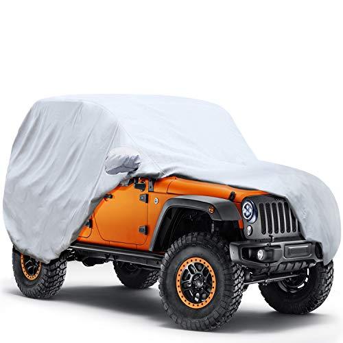 KAKIT 6 Layers Jeep Wrangler Cover 2 Door Waterproof for TJ, CJ, YJ, JK 1987-2017 Windproof All Weather Protection