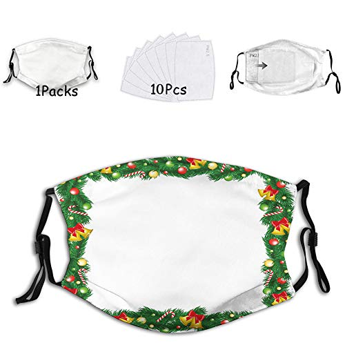 Xmas Themed Garland with Candy Canes Ribbons Colorful Bauble Face Mask Reusable Washable Masks Cloth for Men and Women