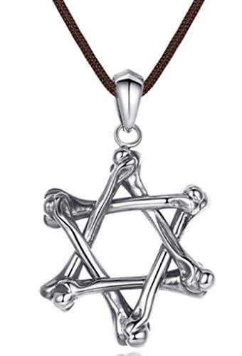 XIRENZHANG Joyería de Plata Vieja de la Vendimia de Seis Puntas S925 Collar de Plata de la Estrella de la Personalidad del Collar Pendiente de los Hombres de 80cm